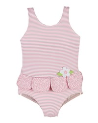 Florence Eiseman Striped Petal One Piece Swimsuit White Pink