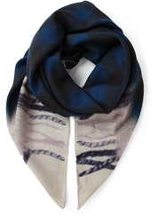 Golden Goose Deluxe Brand Plaid Print Scarf Blue