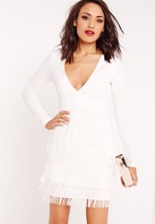 Missguided Plunge Fringed Skirt Bodycon Dress White White