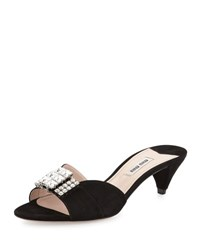 Miu Miu Crystal And Suede Kitten Heel Slide Black