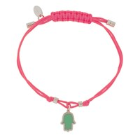 Jemulet Sterling Silver Touch Of Luck Hamsa Charm Bracelet Pink Turquoise