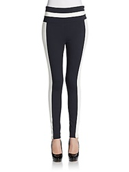 Pink Tartan Contrast Stretch Knit Skinny Pants Black White