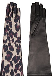 Lanvin Leopard Print Twill And Leather Gloves