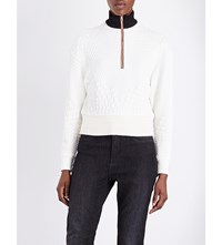 Maje Tolly Quilted Sweatshirt Ecru