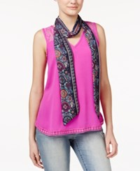 Self Esteem Juniors' 2Fer V Neck Tank With Scarf Fuschia Orchid
