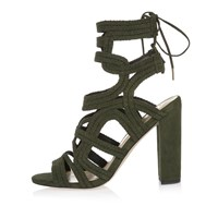 River Island Womens Khaki Braided Cage Heel Sandals