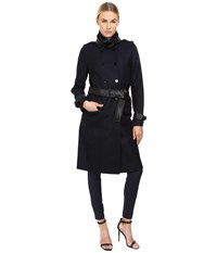 The Kooples Long Belted Trench Coat Dark Navy Women's Coat
