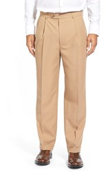 Men's Big And Tall Linea Naturale Wrinkle Free Pleated Micro Twill Trousers Camel