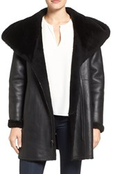 Cole Haan Women's Genuine Curly Lamb Shearling Hooded Coat