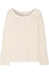 Joie Anias Textured Knit Cotton Blend Sweater Off White