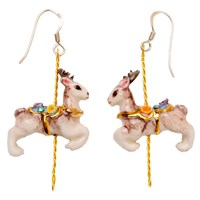 Hop Skip And Flutter Merry Go Round Porcelain Deer Drop Earrings Grey