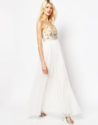 Needle And Thread Embroidery Floral Tulle Maxi Dress Chalk