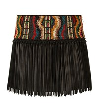 Valentino Beaded Fringed Mini Skirt Female Black