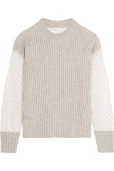 See By Chloe Knitted And Embroidered Tulle Sweater Light Gray