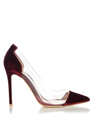 Gianvito Rossi Plexi Velvet Panel Pumps Burgundy