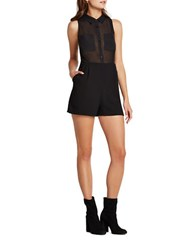 Bcbgeneration Sheer Bodice Collared Short Jumpsuit Black