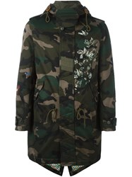 Valentino Floral Detail Camouflage Parka Green