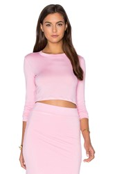 Blq Basiq X Revolve Long Sleeve Crop Top Pink