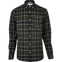 River Island Mens Green Checked Flannel Shirt