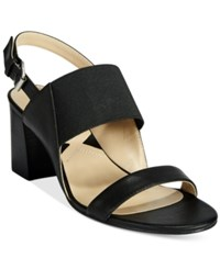 Adrienne Vittadini Panya Block Heeled Sandals Women's Shoes Black