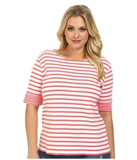 Pendleton Plus Size Double Stripe Rib Tee White Salmonberry Stripe Women's T Shirt Orange
