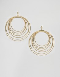 Ny Lon Nylon Multi Hoop Drop Earrings Gold Plated