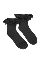 Forever 21 Embroidered Mesh Trim Socks Black Black