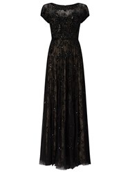 Phase Eight Collection 8 Schubert Lace Beaded Full Length Dress Black Nude