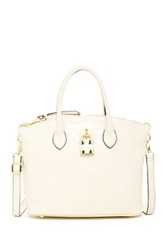 London Fog Brixton Leather Small Dome Satchel White
