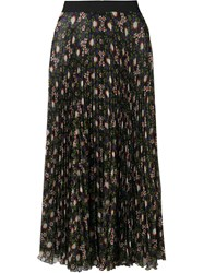 P.A.R.O.S.H. Floral Print Pleated Skirt Black