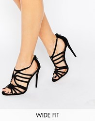 Asos Home And Away Wide Fit Caged Heeled Sandals Black