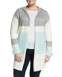 Vince Camuto Stripe Print Open Front Hooded Cardigan Aqua Shade