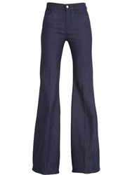 Giambattista Valli For 7Fam High Waisted Flared Cotton Denim Jeans