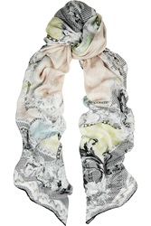 Balmain Printed Modal And Cashmere Blend Scarf White