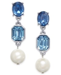 Charter Club Stone And Imitation Pearl Drop Earrings Only At Macy's Blue