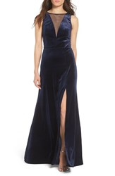 Morgan And Co. Women's Illusion Stretch Velvet Gown Navy