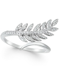 Wrapped Diamond Leaf Ring In 10K White Gold 1 6 Ct. T.W.