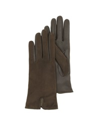 Forzieri Brown Touch Screen Leather Women's Gloves Dark Brown