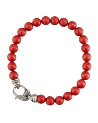 Stephen Webster Men's London Calling Red Coral Bead Bracelet