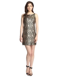 Alexia Admor Faux Leather Laser Cut Out Dress Champagne