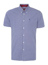 Merc Terry Gingham Classic Collar Shirt Royal Blue