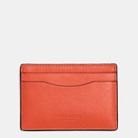 Coach Flat Card Case In Glovetanned Leather Dk Vintage Orange