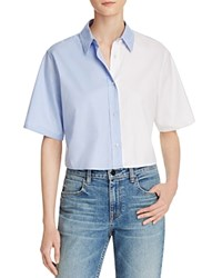 Alexander Wang T By Bicolor Cropped Button Down Shirt Off White Chambray
