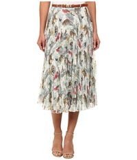 Yumi Noah's Safari Print Pleated Midi Skirt W Pleated Midi Skirt And Belt Cream Women's Skirt Beige