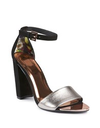 Ted Baker Caiye Leather Ankle Strap Sandals Black Silver