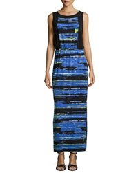 Marc New York By Andrew Marc Striped Front Slit Maxi Dress Cornflower Black