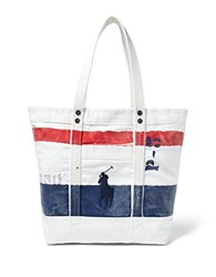 Polo Ralph Lauren Big Pony Bar Striped Canvas Tote Navy