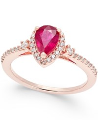 Macy's Ruby 3 4 Ct. T.W. And Diamond 1 4 Ct. T.W. Ring In 14K Rose Gold Red