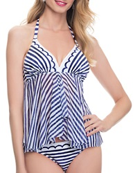 Blush Lingerie Flyaway Tankini Top Blue