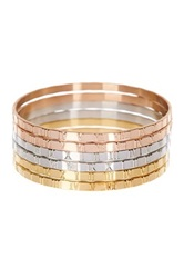 Tricolor Roman Numeral Bangle Bracelet Set Metallic
